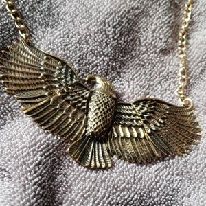 Gold eagle statement necklace
